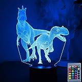 Luz nocturna de dinosaurio para niños, juguetes T Rex, regalos de cumpleaños navideños para niños, con control remoto y lámpara de escritorio táctil inteligente, decoración de 16 colores