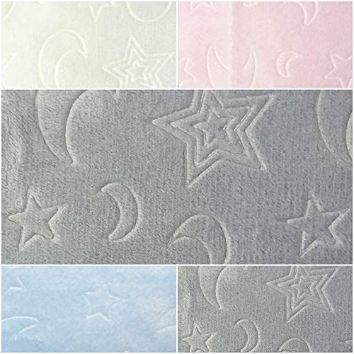 DIE NÄHZWERGE Superflausch Mond & Sterne, in 4 Farben Embossing-Druck - Meterware ab 50cm | Wellness-Fleece Softplüsch Microfleece – Moon and Stars (grau)