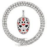HH Bling Empire Iced Out Bling Cz Diamond Silver Gold King Crown Mens Hip Hop Pendant Chain Necklaces (Jason Mask - Silver, With Tennis)
