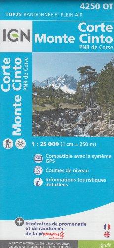 IGN 4250 OT Corte, Monte Cinto, PNR de Corse (Korsika, Frankreich) 1:25.000 topographische Wanderkarte IGN