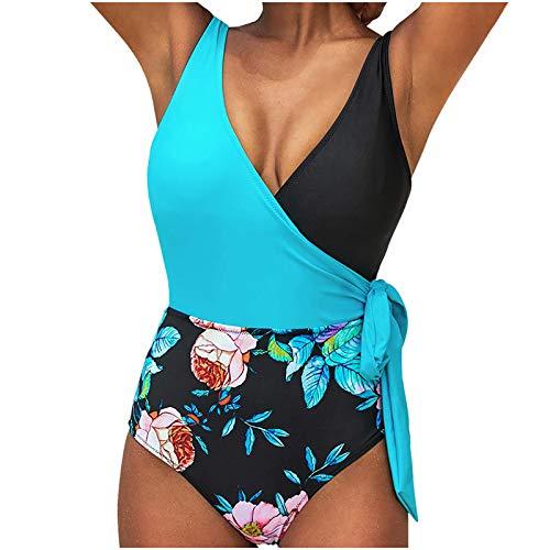 JUNGE One Piece Swimsuit For Women,Sexy High Waisted Push Up Padded Floral Print Bikini Set 2021 Bathing Suits Swimming Suit Women's Modest Swimwear Swim Covers Up Monokini Swimdress Beachwear Outfits