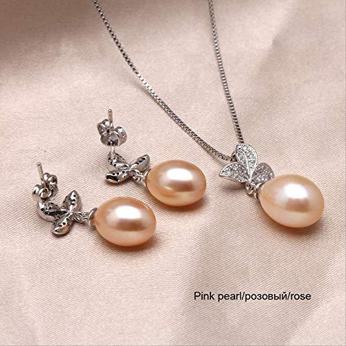 WTPUNGB Echte natürliche Perle Halskette Ohrringe Brautschmuck Sets Mode 925 Silber Schmuck für Frauenrosa Schmuck Set