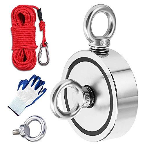MEIXI Double Faces Aimant Néodyme Puissant avec 20m de corde et une paire de gants, Diamètre 94mm,Combiné 816Kg Extrêmement Traction Puissant pour pêche à l'aimant et récupération dans la rivière