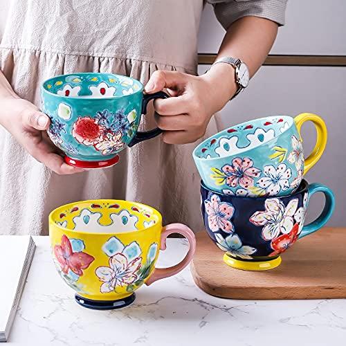 PPuujia Taza de café de cerámica de gran capacidad, pintada a mano, para el hogar, oficina, uso de porcelana creativa taza de agua potable (color: estilo 2)