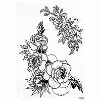 MIYU ローズ牡丹の花の女の子の一時的な入れ墨のために女性の防水黒のタトゥーステッカー3DブロッサムレディーショルダーManual (Color : TH400)