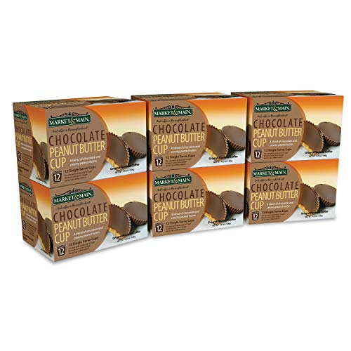 Market & Main One Cup, Chocolate Peanut Butter Cup, Compatible with Keurig K-cup Brewers, 72 Count, 12 Count (Pack of 6)