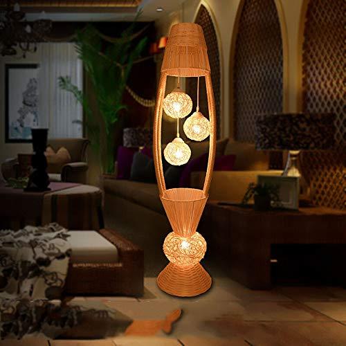 CYLAMP Lampe sur Pied de Salon, E27 Lampe de Salon Moderne, 4 Lumières, Lampadaire en Rotin Tricoté Main pour Lampe de Chevet Chambre à Coucher, Bureau, Balcon, Couloir