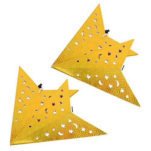 BESPORTBLE Papel de Navidad Linterna Estrella Pantallas: 2 Piezas 60Cm Techo 3D Centelleante Pentagrama Lámpara Sombra para Luz LED Ahueca hacia Fuera Colgante Estrella Navidad Árbol