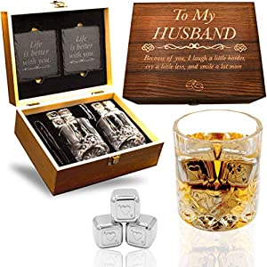 GIFT FOR YOUR HUSBAND FOR ANY OCCASION! - This Whisky Set Features a Hand Crafted innovative Design with the writing: 'To My Husband – Because of you, I laugh a little harder, cry a little less, and smile a lot more. Superior and Elegant Wedding Anni...