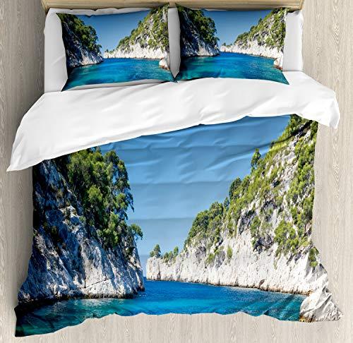 ABAKUHAUS Frankrijk Dekbedovertrekset, Panoramic Port Pin View Art, Decoratieve 3-delige Bedset met 2 Sierslopen, 230 cm x 220 cm, Azure Blue en Multicolor