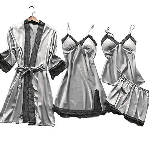 HUANSUN Conjunto de Pijamas de lencería de Talla Grande para Mujer, Bata de Encaje de Seda Satinada, 4 Piezas, Babydoll, Ropa de Dormir, camisón, 11 Colores, Pijama, color4, M