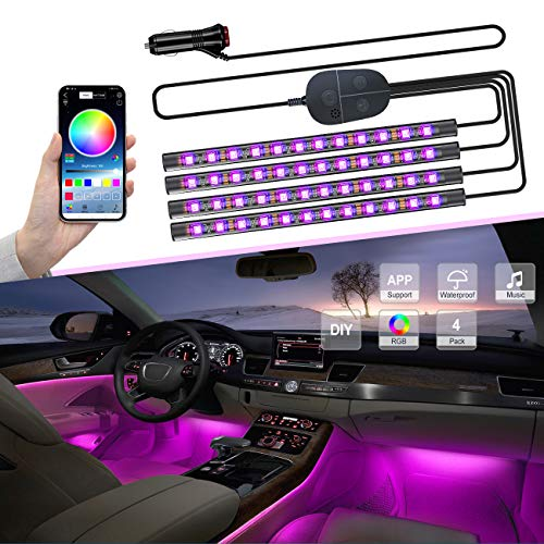 YiLaie Upgrade Car Interior Lights with Smart APP Control, 4pcs 48 LEDs Waterproof Car LED Strip Light, Multicolor, Multiple Scene and Music Sync Under Dash Car Lighting Kits with Car Charger, DC 12V