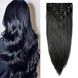 Clip in extensions echthaar Doppelt Tressen Remy Echthaar Haarverlängerung 8 teiliges set dick (60cm-170g, 1 Schwarz)
