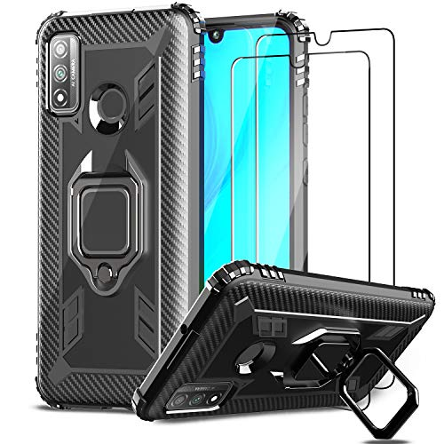 IMBZBK Kompatibel mit Huawei P Smart 2020 Hülle + [2 Stück] Huawei P Smart 2020 Panzerglas Schutzfolie, [360 Grad Drehung Fingerring Ständer] [Anti-Fall] Silikon weiches TPU-Gehäuse-Schwarz