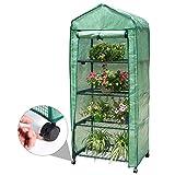 Finether 4-Tier Mini Serre de Jardin Metal PE Plastique Tente Abri Portable Couverture Résistant aux Intempéries...