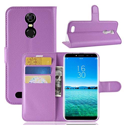 LMFULM® Hülle für OUKITEL C8 3G / 4G (5,5 Zoll) PU Leder Magnetverschluss Brieftasche Lederhülle Handytasche Litschi Muster Standfunktion Ledertasche Flip Cover für OUKITEL C8 Lila