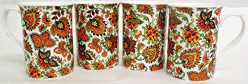 Motif cachemire Lot de 4 mugs Tasses en porcelaine fine Motif orange Paisley décoré à la main au Royaume-Uni