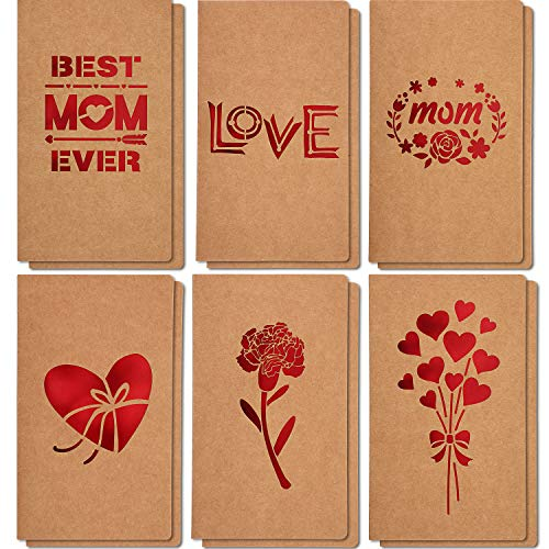 Chinco Mother's Day Greeting Gift Cards,6 Unique Assorted Kraft Die Cut Design Mother's Day Gift Best Mom Ever Cards for Mothers Day Mothers Birthday Party Supplies, Envelopes Included(12 Pieces)
