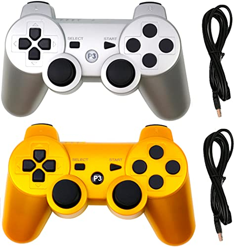 Molgegk Wireless Controllers Replacement For PS3 Controller, Compatible with Play-Station 3 Console, Upgraded Joystick Double Vibration Motion Gamepad With Charging Cable(Gold and Silver)