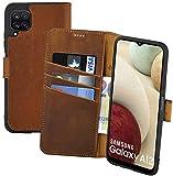 Suncase Book-Style Hülle kompatibel mit Samsung Galaxy A12 Leder Tasche (Slim-Fit) Lederhülle Handytasche Schutzhülle Hülle mit 3 Kartenfächer in antik-Coffee