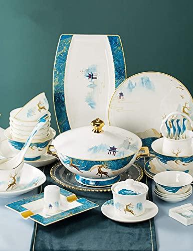 Juego de vajilla de porcelana china de hueso de 42-128 piezas, servicio para 6-20, lujoso juego de vajilla de porcelana con plato de pescado, plato de postre, cuenco de cereal (Color: 88 piezas)