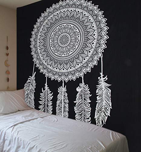 Tapiz Raajsee de algodón indio con diseño de mandala color negra y blanca para colgar en la pared, 220 x 230cm, algodón, negro, 220*240 cms