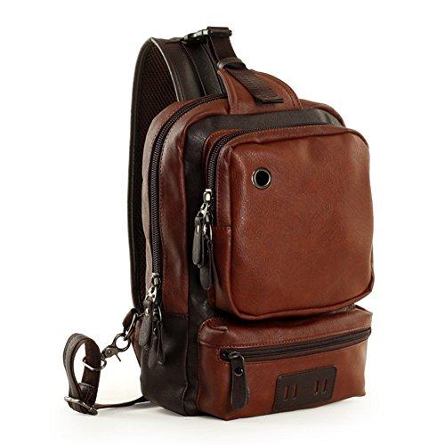 Sincere® PU sac de messager en cuir poitrine / sports de plein air sac de messager / épaule étudiants-brun sac croix école
