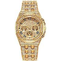 Reloj de Oro para Hombre con Reloj de Diamante para Hombre Relojes de Hip Hop - Unisexo Iced out Reloj Hombres Diamantes Plateados