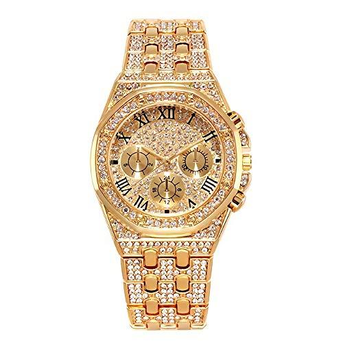 Herren Gold Diamant Armbanduhr Hip Hop Uhren für Herren - Unisex Iced Out Uhr Silber für Herren/Damen