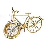 KJH Reloj de Mesa, Reloj de Mesa, Bicicletas Escritorio Moldeada Retro Reloj de Oro de Bicicletas Hierro Manto de Escritorio Decoración for El Hogar y Oficina Salón Regalo del Estilo Antiguo