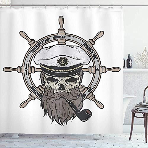 ASDAH Skull douchegordijn kapitein piraat schedel in zeeman hoed met baard en pijp nautische thema print doek stof badkamer Decor set met haken bruin wit 66 * 72in