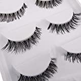 5 Pairs Soft Long Black Cross False Eyelashes Makeup Eye Lash Extension by Broadfashion