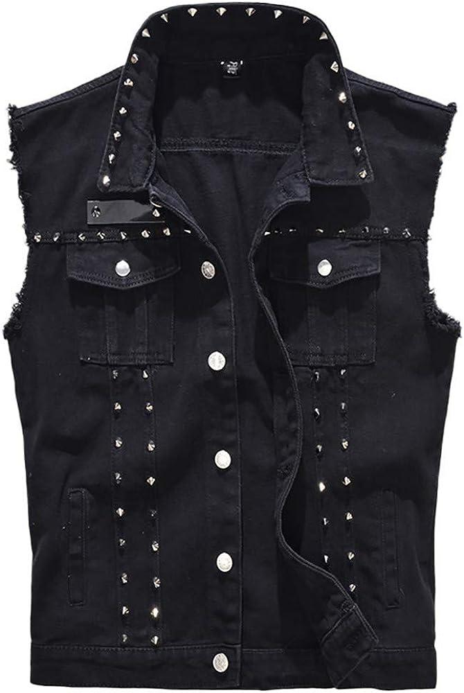 MODOQO Men's Denim Vest Sleeveless Slim Fit Lapel Black Lightweight Outwear Jacket with Rivet