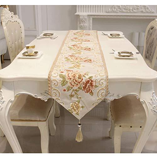 HYXQYZQ Tafelloper, Botanisch Bloemenborduurpatroon en handgemaakte kwastaccessoires, Geschikt voor het decoreren van eettafels, bruiloften, feesten, tv-kasten, vakantiedecoraties ++