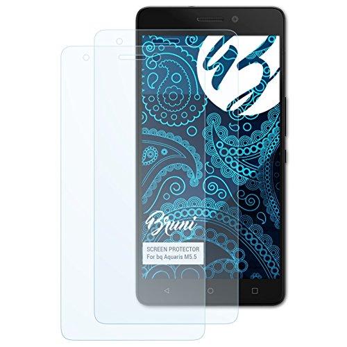 Bruni Schutzfolie kompatibel mit bq Aquaris M5.5 Folie, glasklare Bildschirmschutzfolie (2X)