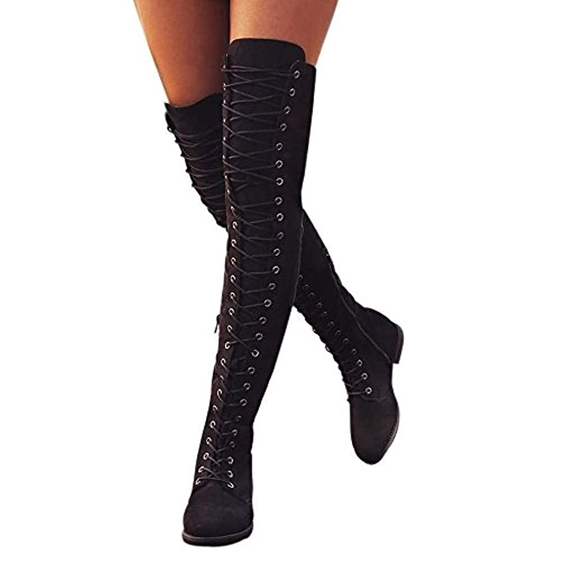 WuyiMC Women's Over The Knee Pull On Boots Thigh Flat Heel Flock Warm Wide Long Boots