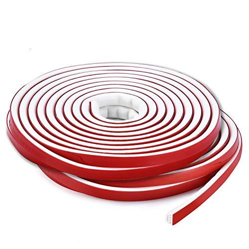 Qishare Tira de Silicona Tira de Sellado de Diseño de Múltiples Orificios Para Puertas y Ventanas, Anticolisión, Insonorizada, Impermeable, a Prueba De Polvo, a Prueba De Viento, 6M(D9*6mmx2, Blanco)