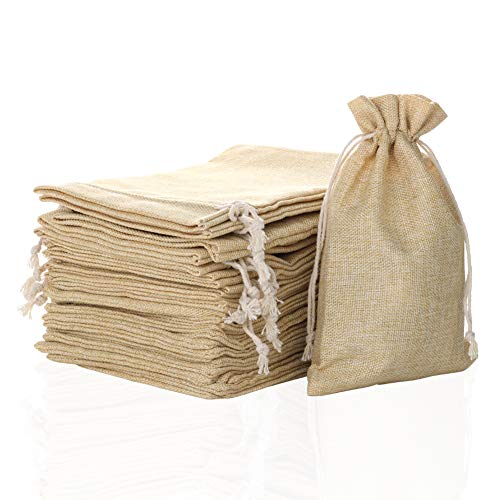 FLAIRYLAND 50 Pcs 4.7 x 7.5 inch Linen Burlap Bags with Jute Drawstring for GiftBags Wedding Party Favors Jewelry Pouch…