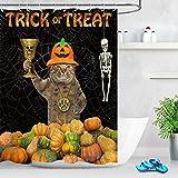 None brand Halloween Pumpkin Champion Cat Raises Trophy Funny Cortina de baño Baño Tela de poliéster Impermeable para la decoración de la bañera-180cmX200cm