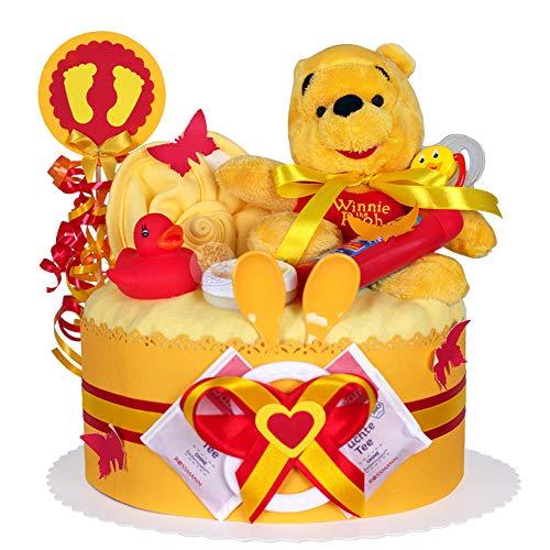 Gâteau gâteau/Pampers Couches > > Winnie l'Ourson, cadeau pour fille et bébé garçon dans un beau de 2 Ton colorés : Orange/Rouge (neutre)//Cadeau pour la naissance, baptême, baby party//Cadeau Original et Pratique Pour Bébé