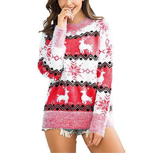 ZFQQ Otoño e Invierno suéter de Navidad para Mujer suéter de Ciervo con Copo de Nieve