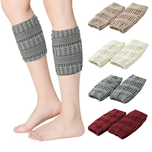 Knitted Boot Cuffs for Women Crochet Boot toppers Short Leg Warmers Winter 4 Pairs