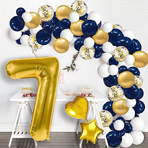 Globos de Cumpleaños 7 Años Globo Azul Marino y Dorado Número Gigante 0-9 Años Globo de Papel de Aluminio (100 CM) Globos de Confeti de Látex Decoraciones de Fiesta de Cumpleaños para Niño Hombre