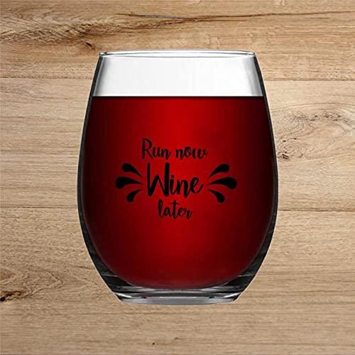 Run Now Wine Later - Vaso de vino grabado para whisky, cristal sin tallo, decoración de fiesta, perfecto para padre, mamá, niño o amiga