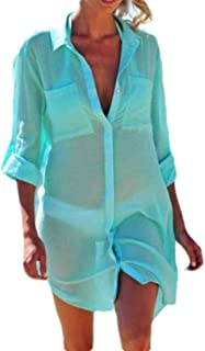Suncolor8 Women Casual Bikini Cover Up Loose Long Sleeve Solid Color Button Down Shirt Blouse
