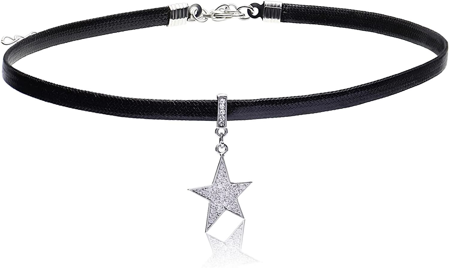 EMONJAY choker necklaces for women black clover jewelry black leather lucky gothic pendant