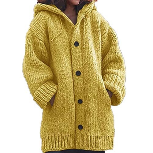 Loose Pocket Cardigans Sweaters Women Autumn Winter Long Sleeve Button Sweater Casual Coat Yellow XXL