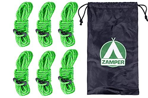Zamper Juego de cuerdas tensoras para camping, 4 m, cuerda para tienda de campaña con tensor como accesorio de camping, correa de tormenta luminosa y reflectante
