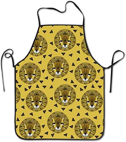 Delantal con babero de cocina ajustable con estampado de cara de león mostaza de Andrea Lauren, unisex para cocinar, jardinería, barbacoa, fiesta, artesanía comercial