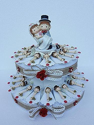 Torte Bomboniere Schlüssel mit Str e Brautpaar mit Karte Hochzeit Tischkarte 35 FETTE ( 2 PIANI)
